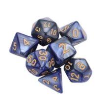 Dobókocka szett -  márványos indigó kék (7 darabos)