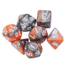 Dobókocka szett -  márványos fekete/narancs (7 darabos)