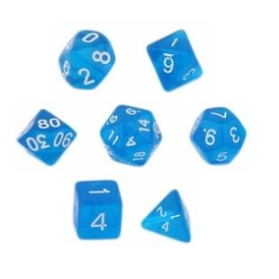 Dobókocka szett - neon kék (7 darabos)