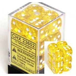 Chessex dobókocka szett - hat oldalú - citromsárga (12 db)