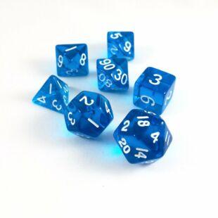 Dobókocka szett - átlátszó kék (7 darabos)