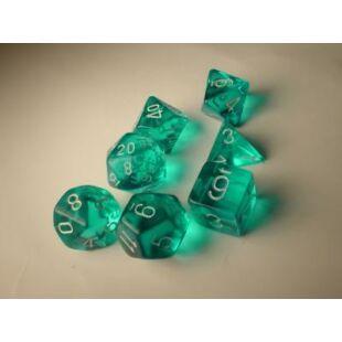 Dobókocka szett - átlátszó zöld (7 darabos)