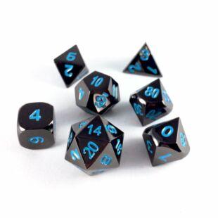 Dobókocka szett - teli fekete, kék számokkal (7 darabos) - /EV/