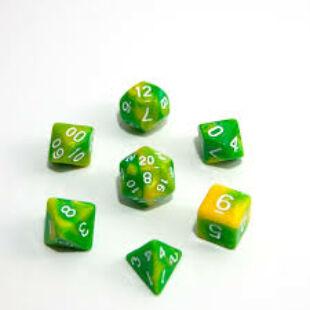 Dobókocka szett - márványos citromsárga/sötét zöld (7 darabos) - /EV/