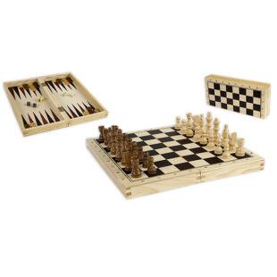 Sakk, dáma, backgammon készlet fából