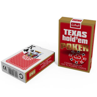 Kártya - Texas Hold'em 100% plaszik póker kártya (1*55 lap) - Piros - /EV/