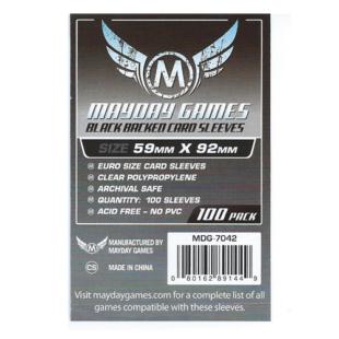 Kártyavédő tok - (100 db) - 59 mm x 92 mm fekete hátlappal - Mayday Games MDG-7042