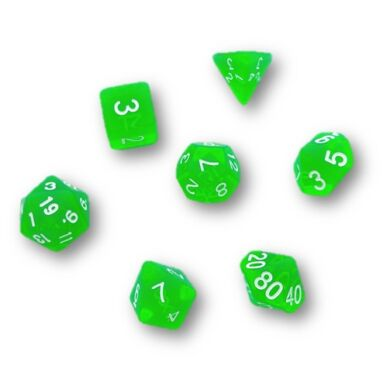 Dobókocka szett -  neon zöld (7 darabos)