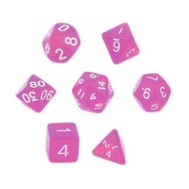 Dobókocka szett - neon rózsaszín (7 darabos)