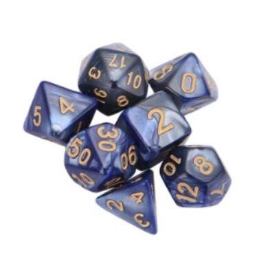 Dobókocka szett -Márványos kék (7 darabos)