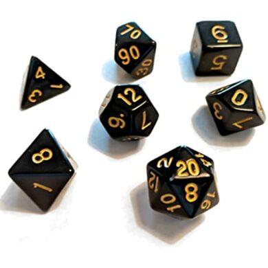 Dobókocka szett - teli fekete, arany számokkal (7 darabos) - /EV/