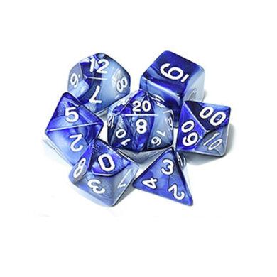 Dobókocka szett - márványos fehér/kék (7 darabos) - /EV/