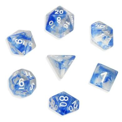 Dobókocka szett - márványos fehér/világos kék (7 darabos) - /EV/