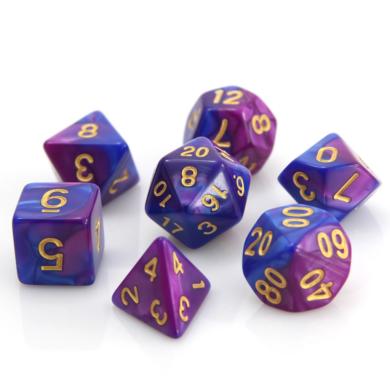 Dobókocka szett - márványos sötét kék/rózsaszín (7 darabos) - /EV/