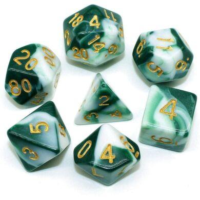 Dobókocka szett - márványos fehér/sötét zöld (7 darabos) - /EV/