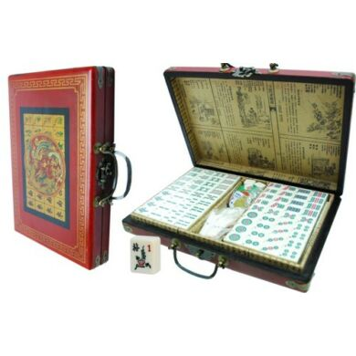 Mahjong festett bőr, fa dobozban