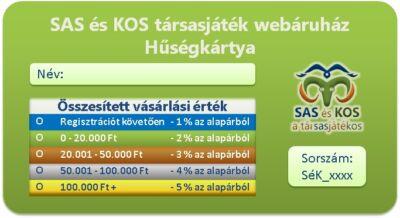 SAS és KOS társasjáték webáruház Hűségkártya